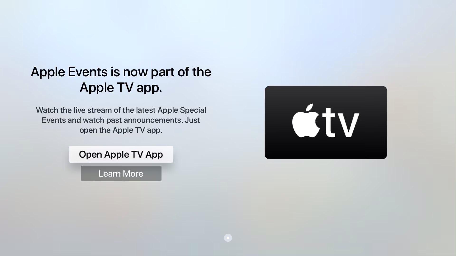 Watch Apple Silicon event - TV app splash screen