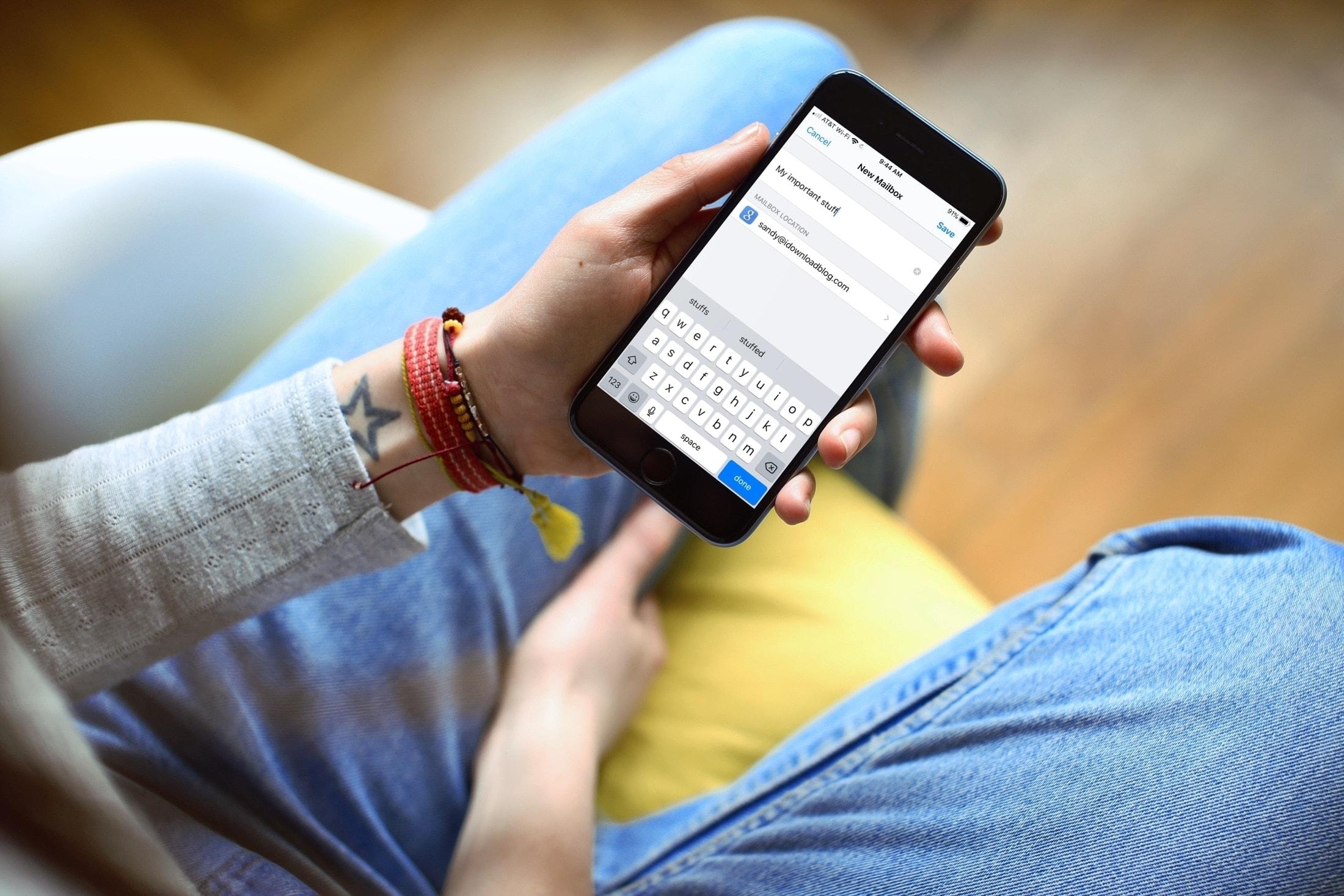 Create Mail Subfolder Mailbox iPhone