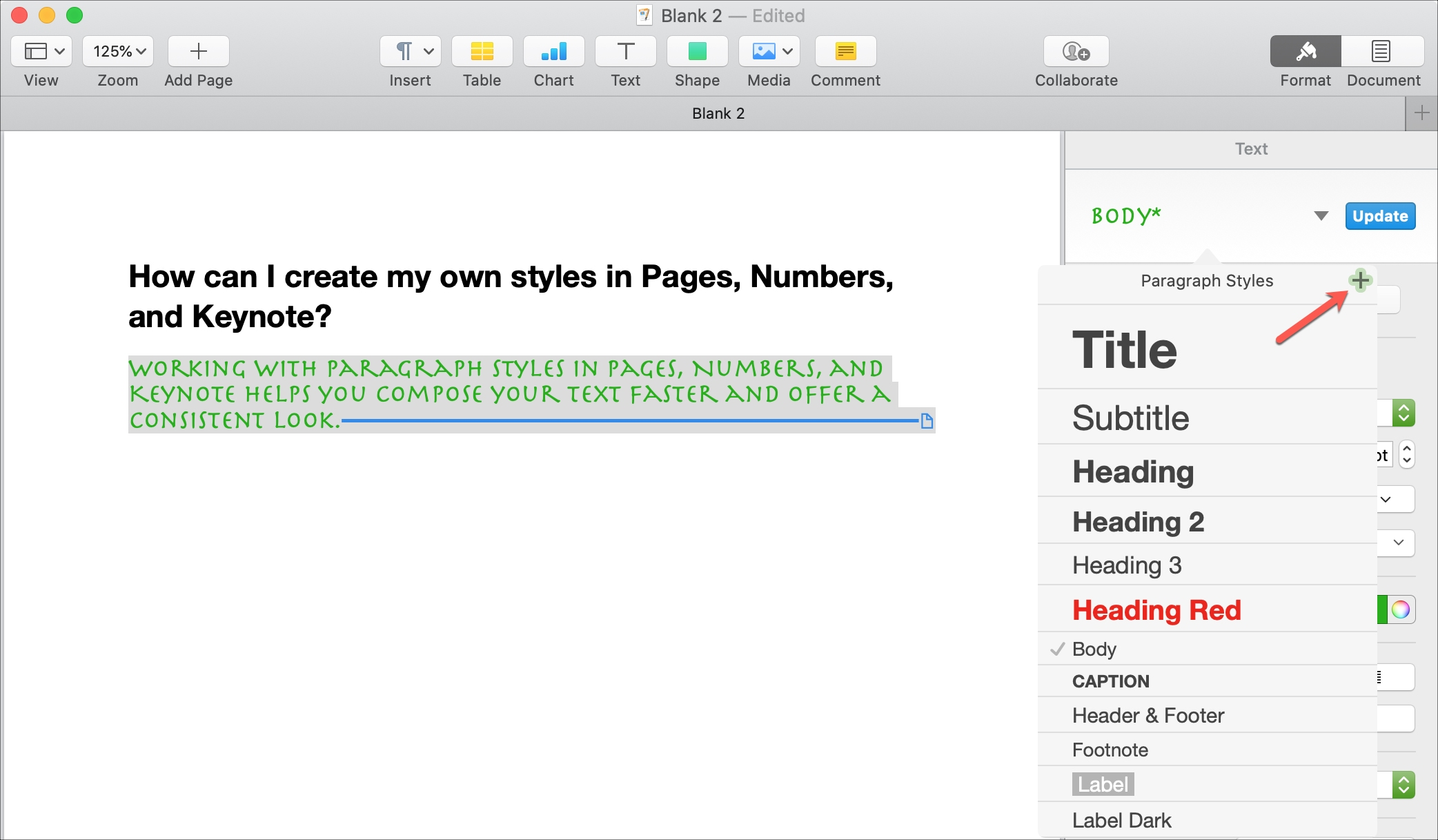 Create Paragraph Style Pages Mac