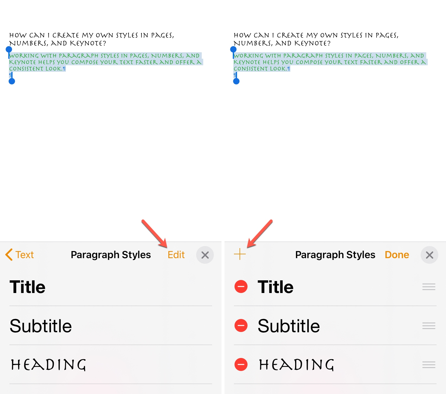Create Paragraph Style Pages iPhone