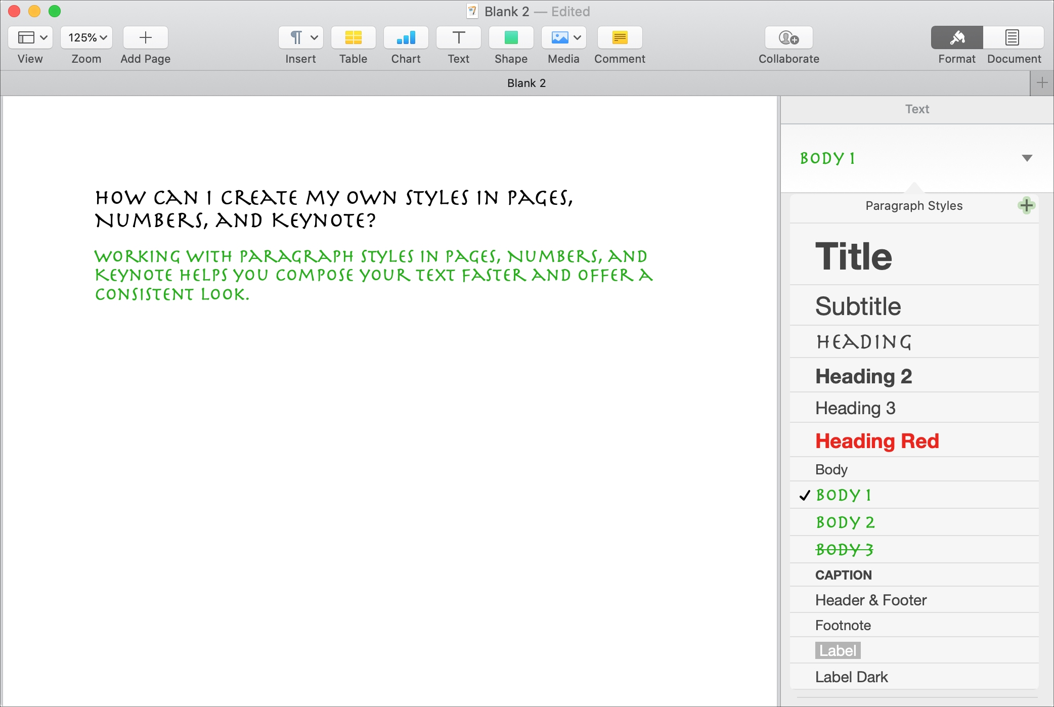 Customize Create Paragraph Styles Pages Mac