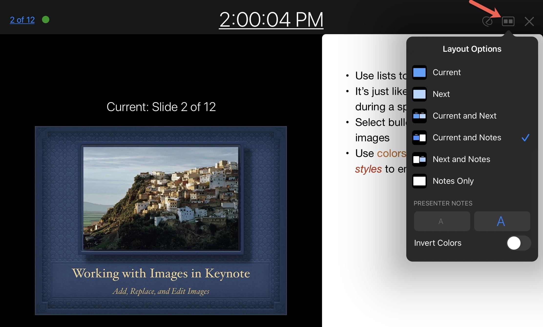 Customize Presenter Display Layout Options Keynote iPad