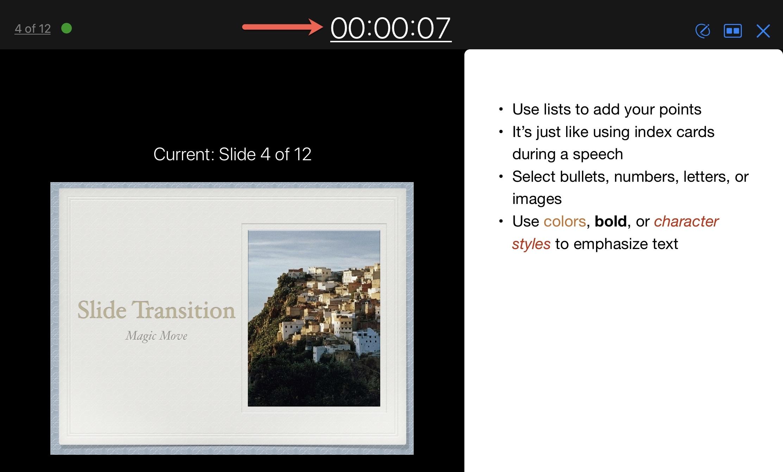 Customize Presenter Display Timer Keynote iPad