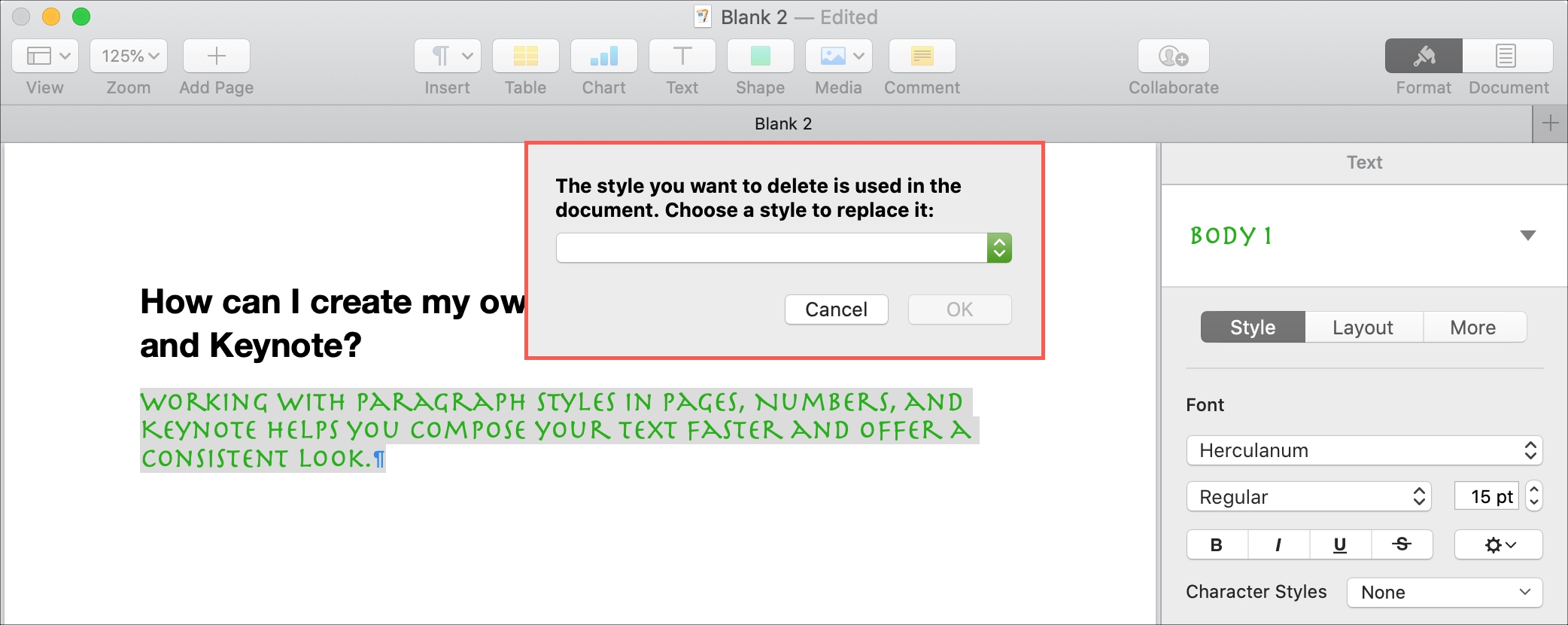 Delete Paragraph Style Pages Mac