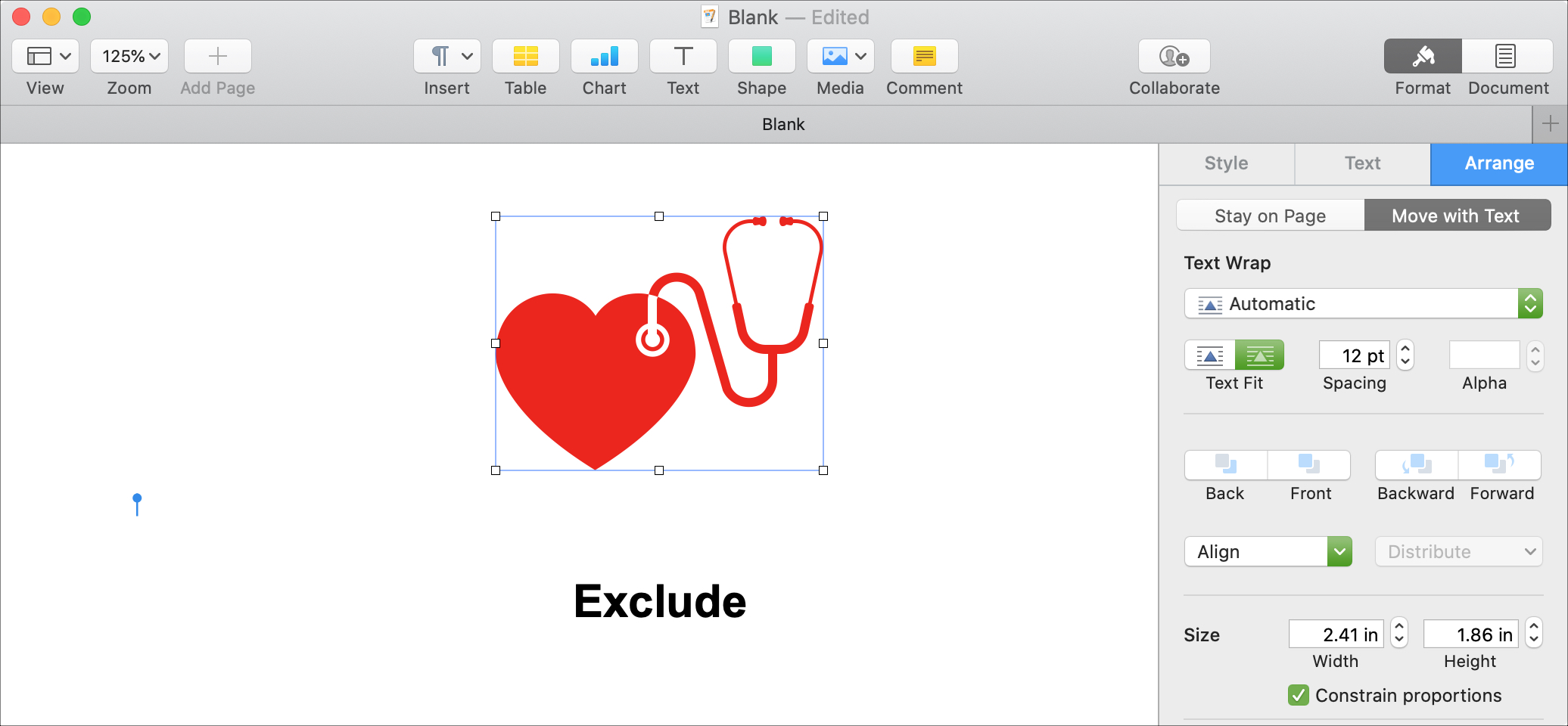 Exclude Shapes Pages Mac