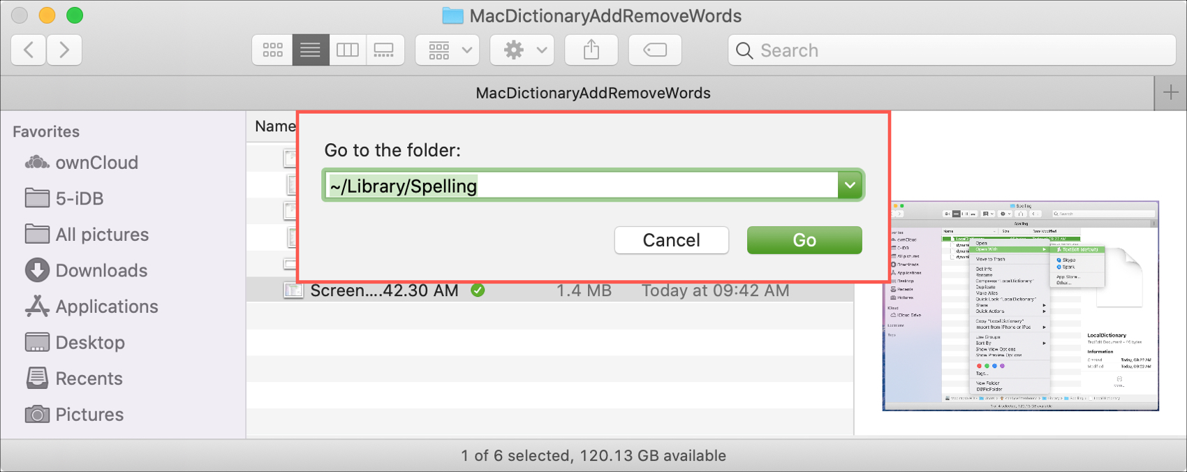 Go to Folder Library Spelling Mac