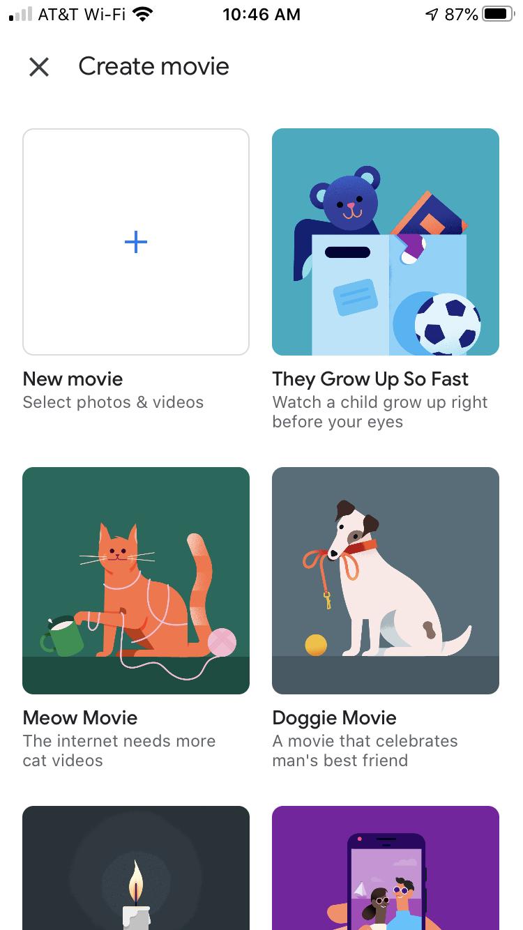 Google Photos Create Movie iPhone