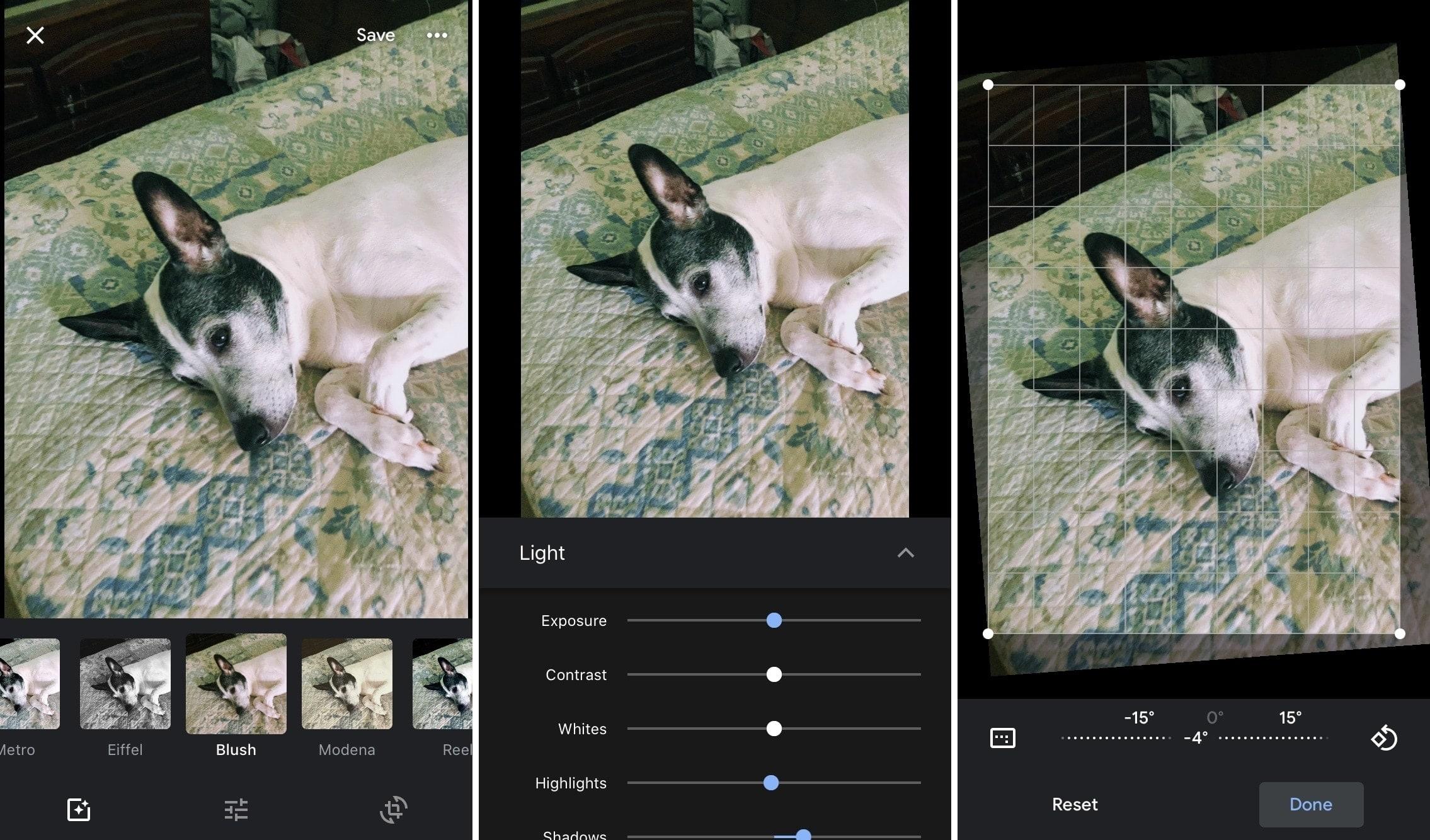 Google Photos Edit Options Animation iPhone