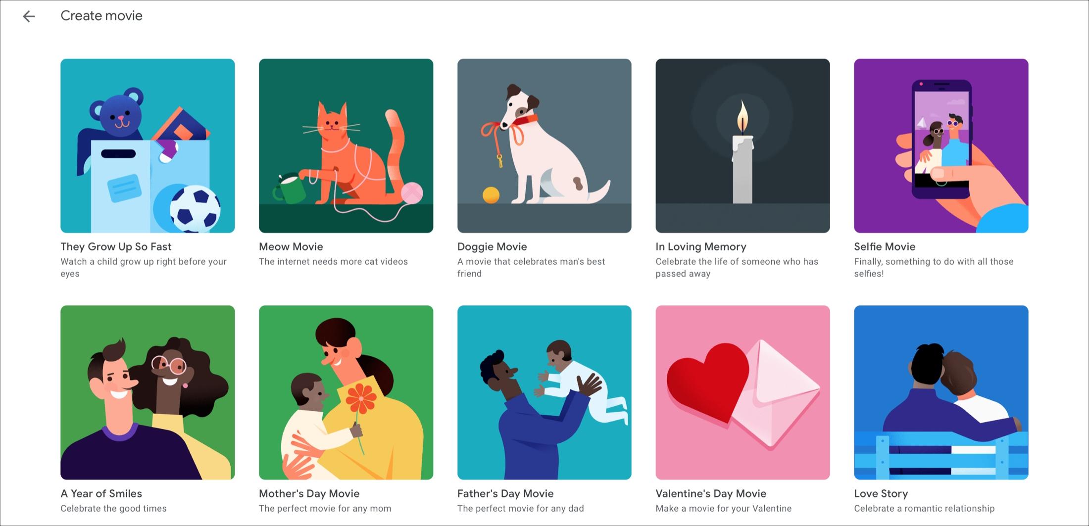 Google Photos Movie Themes Online