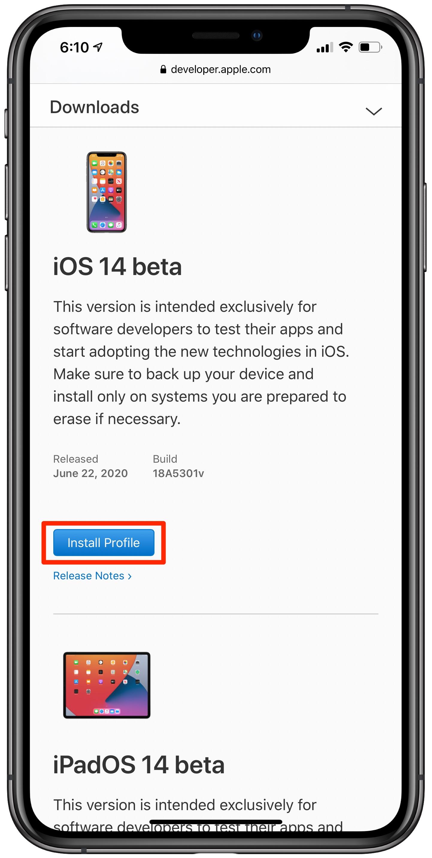 Install iOS 14 beta iPadOS 14 beta