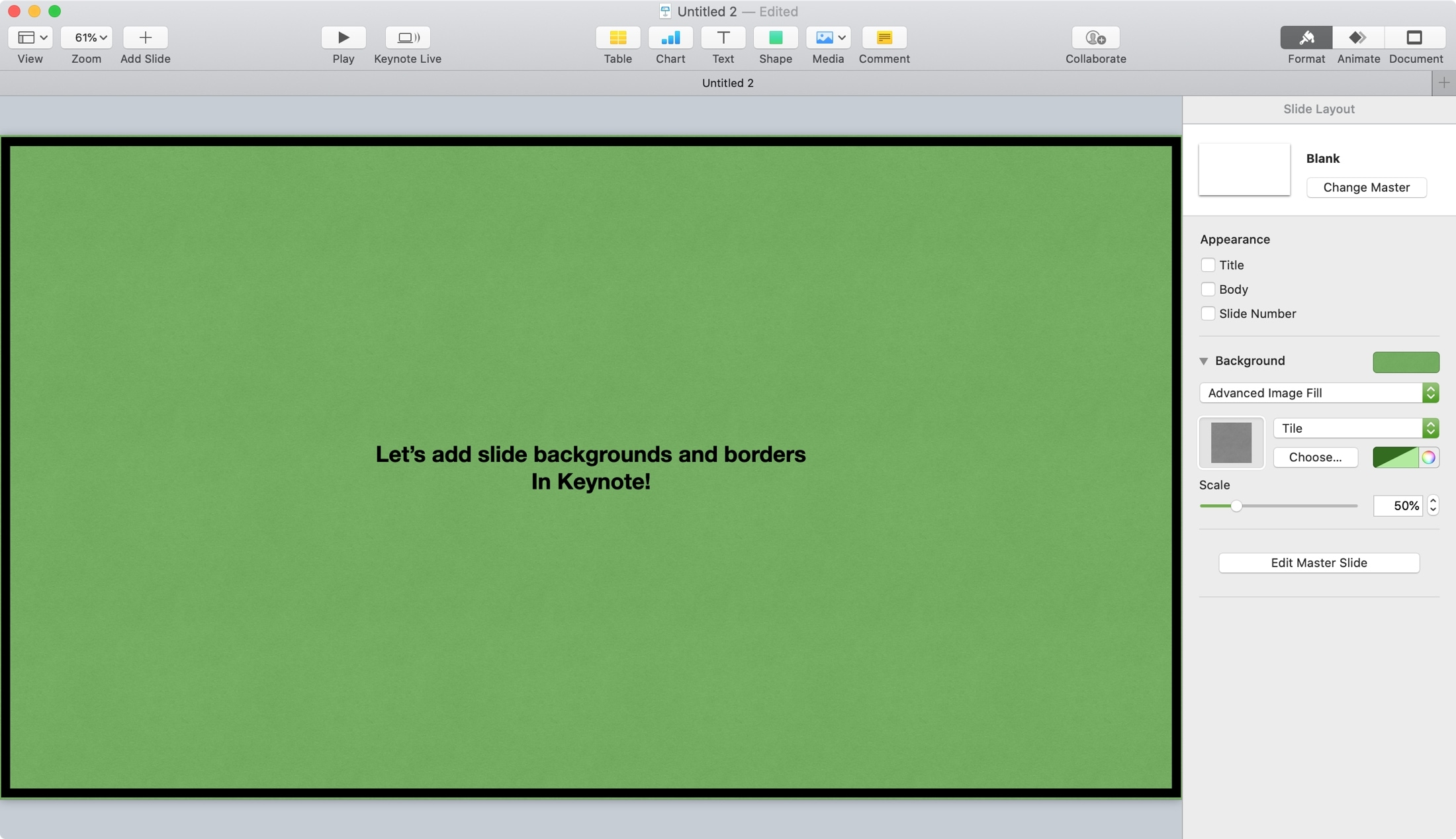 Keynote Slide Background and Border Mac