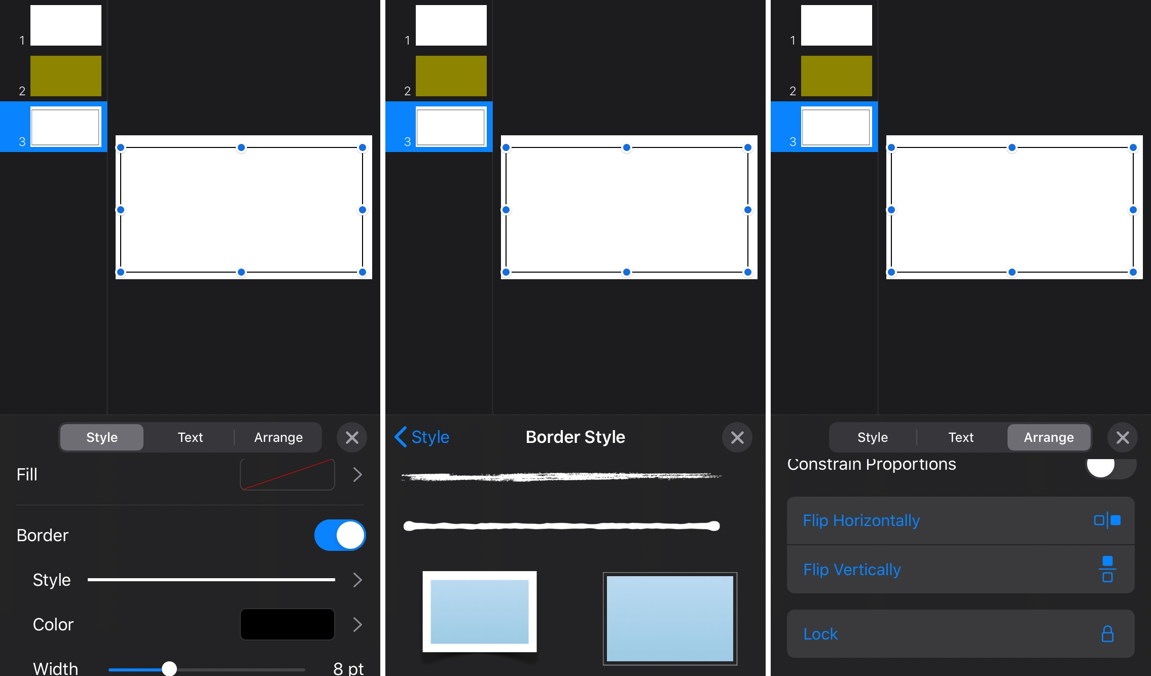 Keynote Slide Border Options iPhone