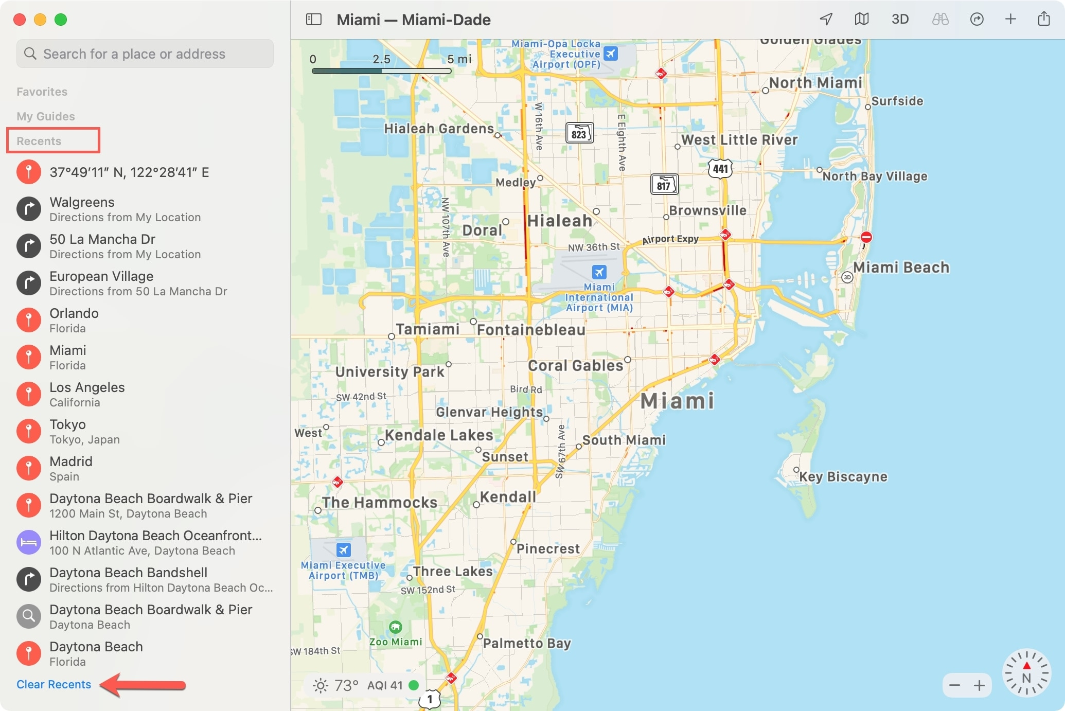 Mac Maps Clear Recents