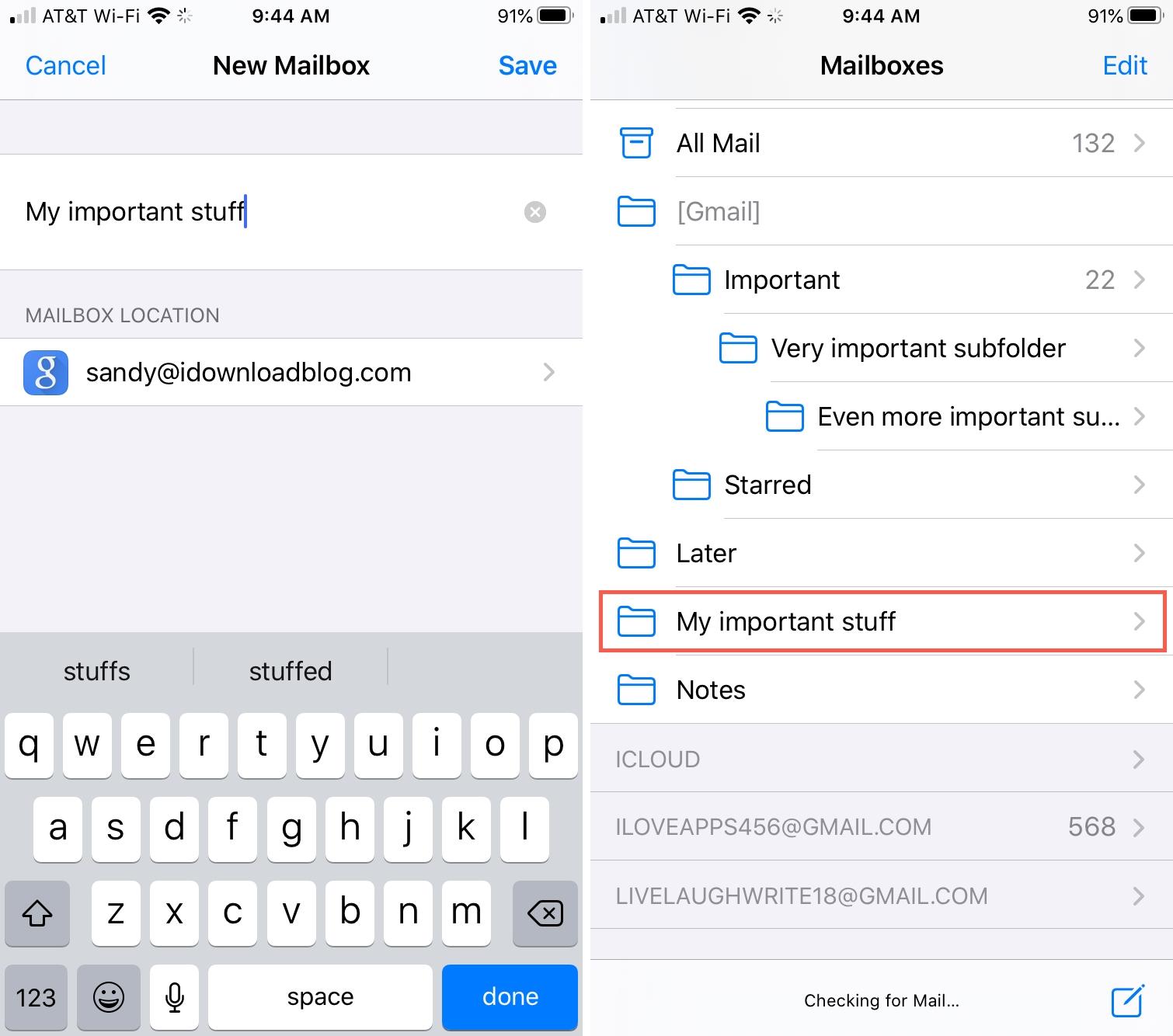 Mailbox Subfolder iPhone Mail