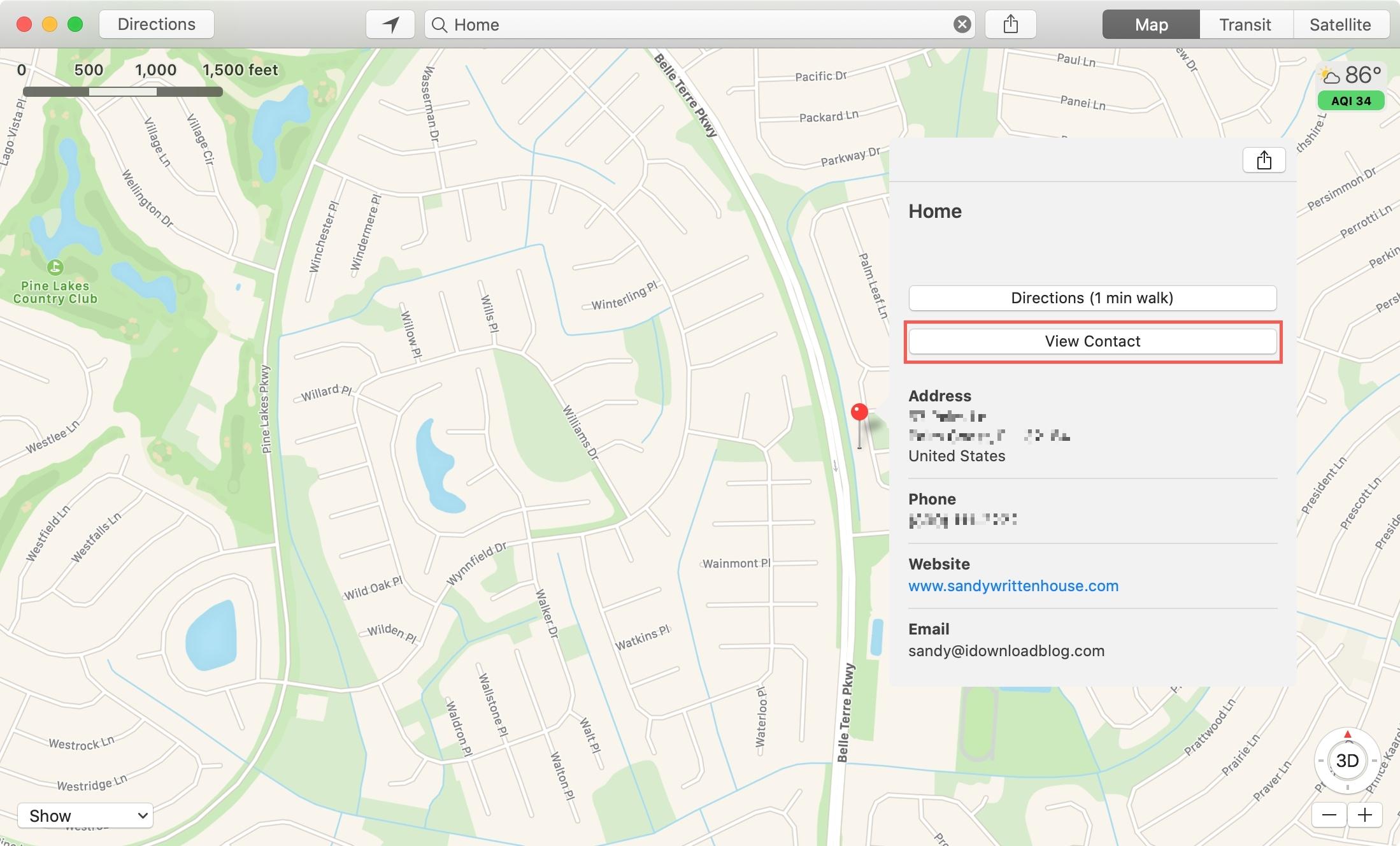 Maps View Contact Mac
