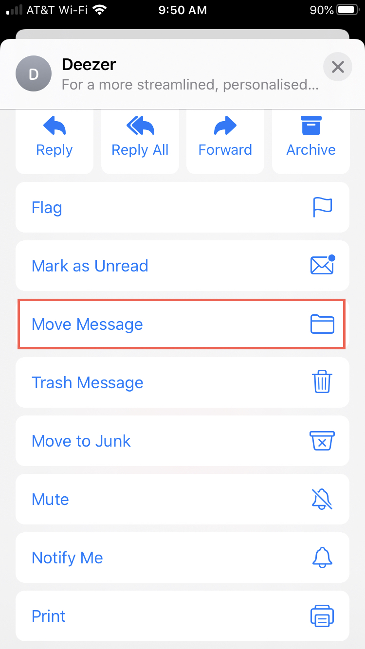 Move Message iPhone Mail