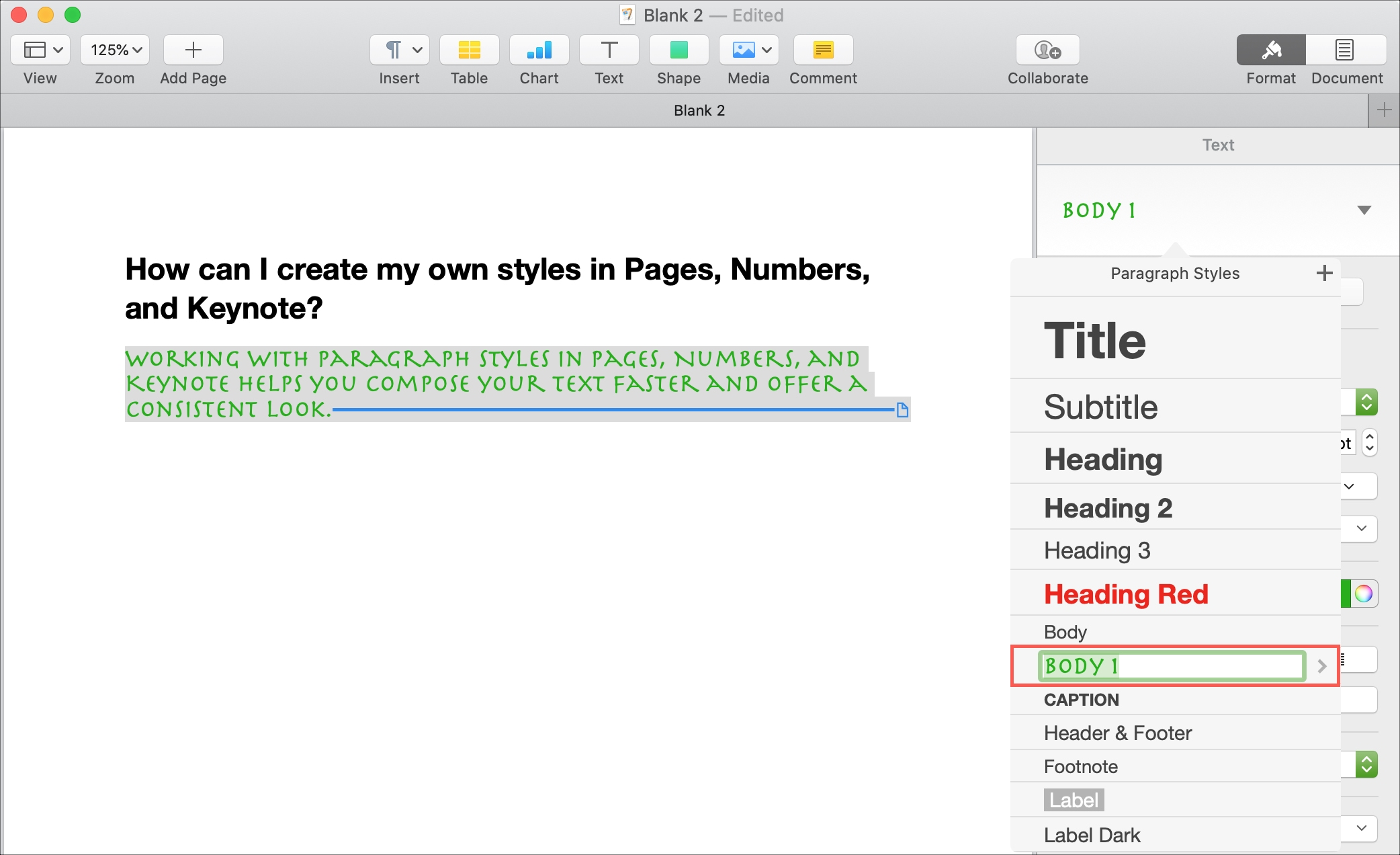 Name Paragraph Style Pages Mac