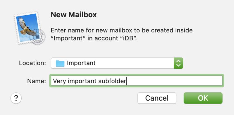 New Mailbox Subfolder Mac Mail