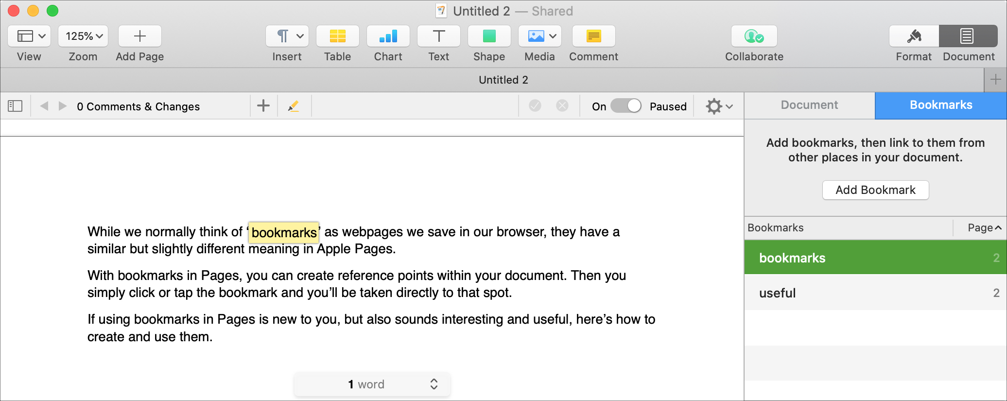 Pages Bookmark List on Mac