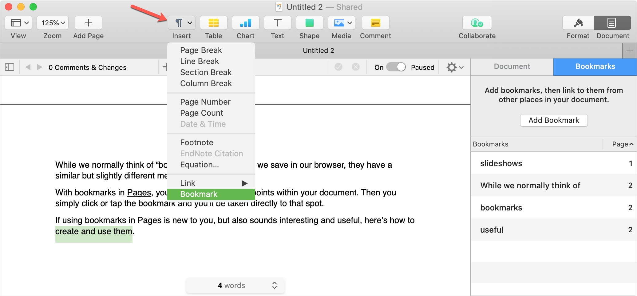 Pages Create Bookmark on Mac