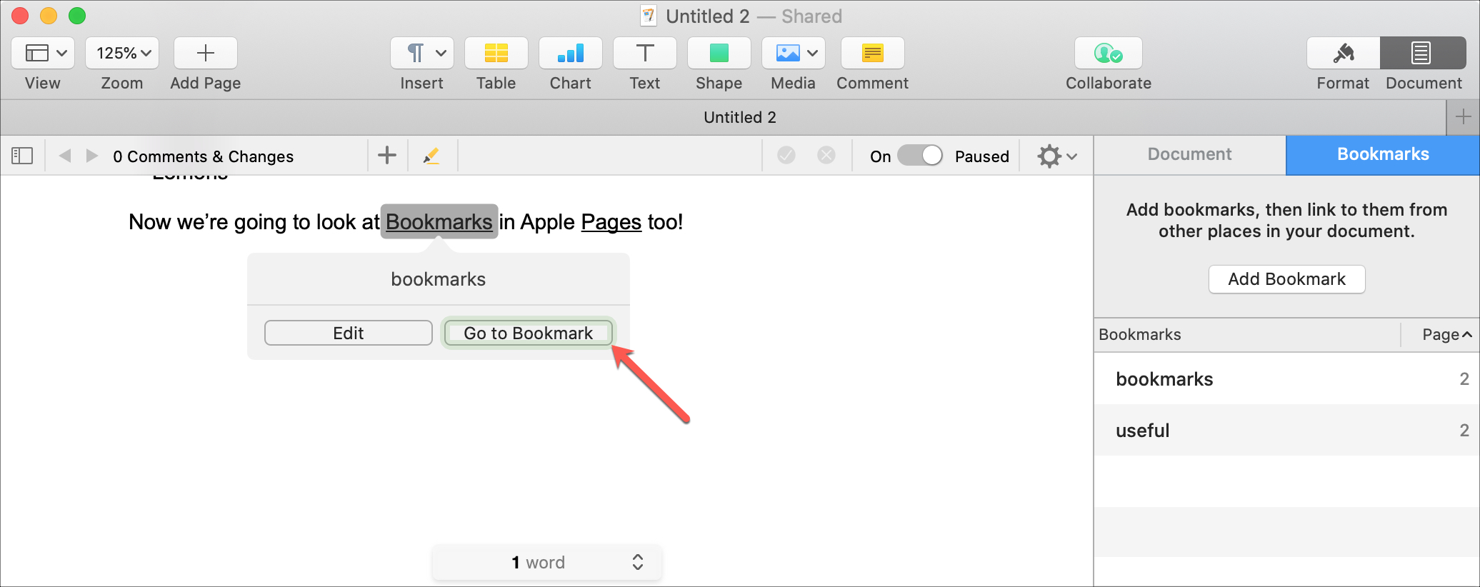 Pages Go To Bookmark on Mac