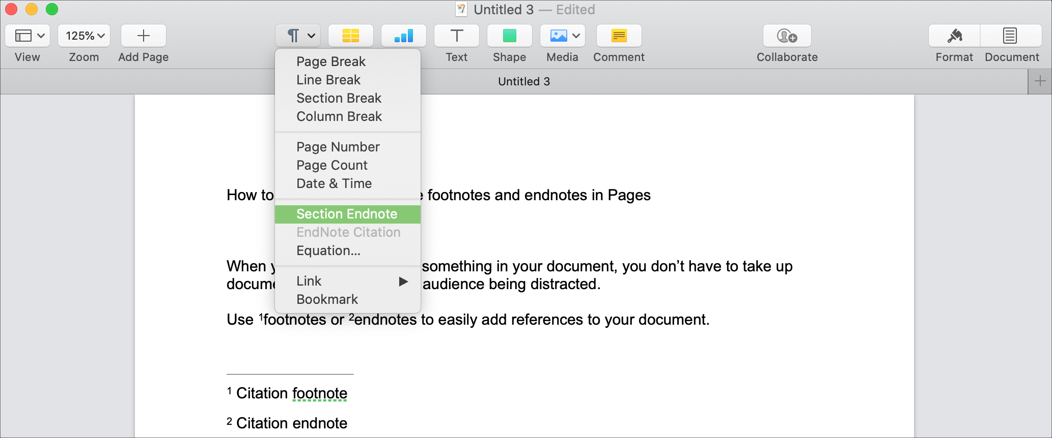Pages Insert Endnote Mac