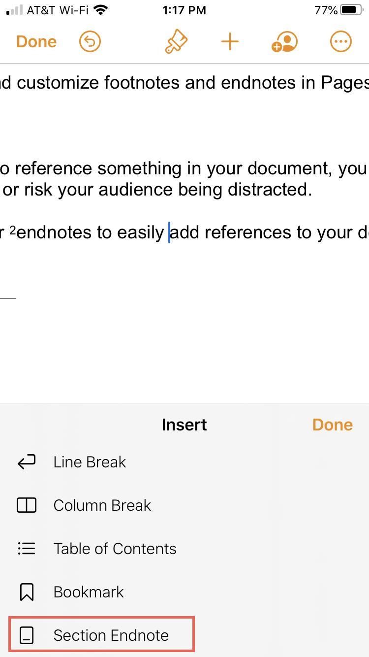Pages Insert Endnote iPhone