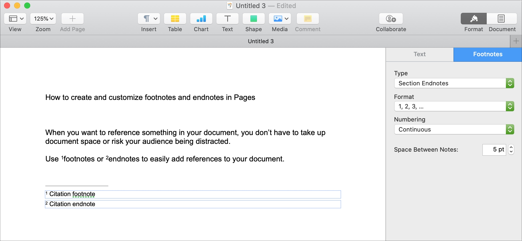 Pages Insert Footnote or Endnote Mac