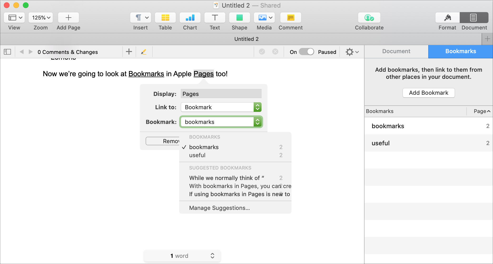 Pages Link To Bookmark on Mac