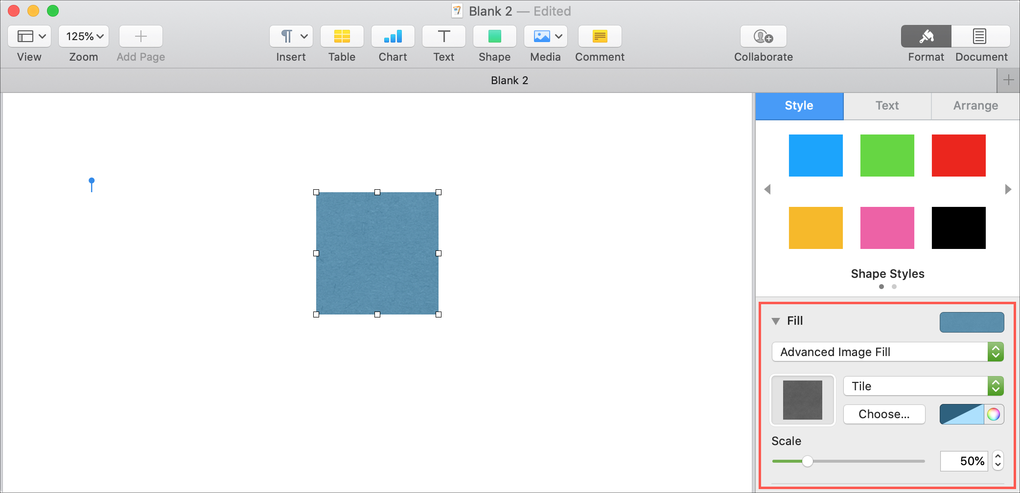 Pages Mac Advanced Image Fill Shape