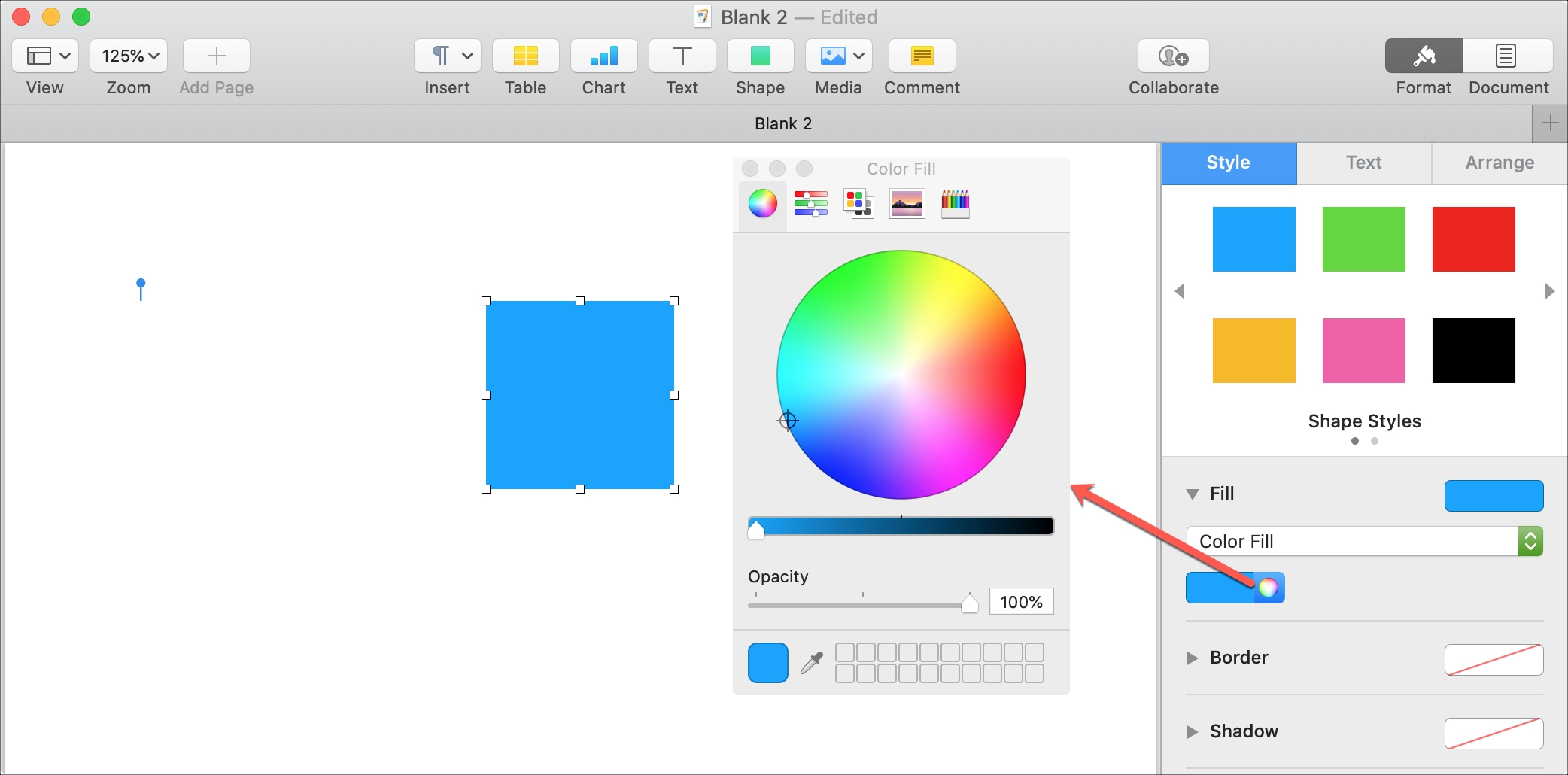 Pages Mac Color Fill Shape