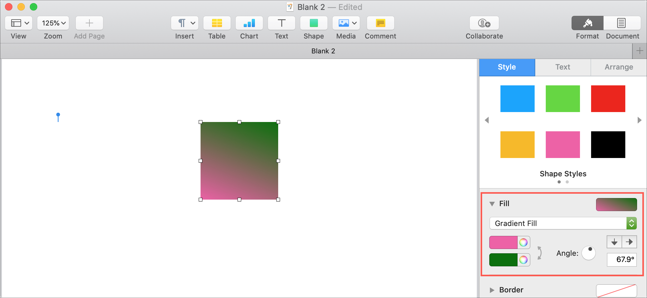 Pages Mac Gradient Fill Shape
