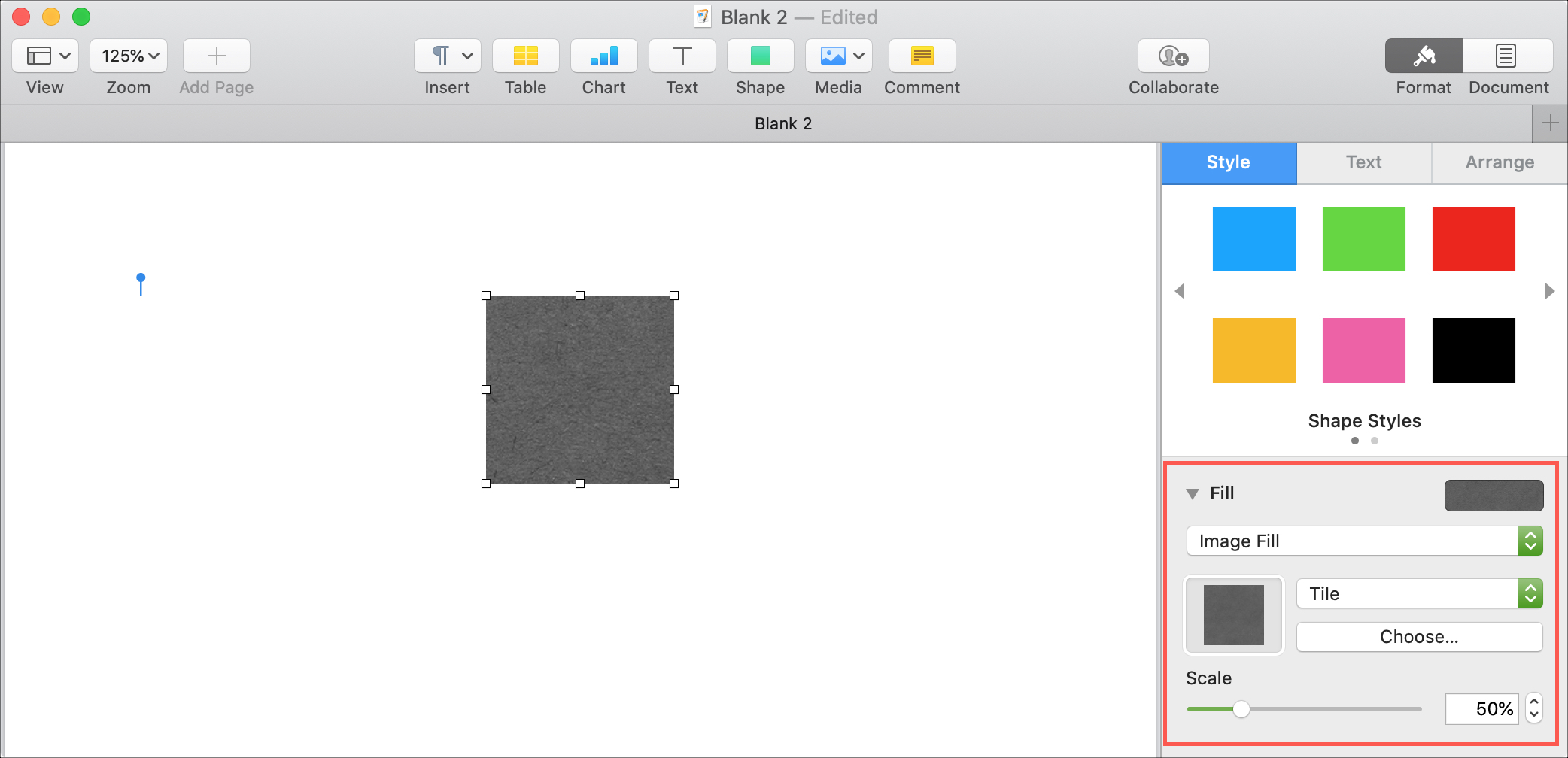 Pages Mac Image Fill Shape