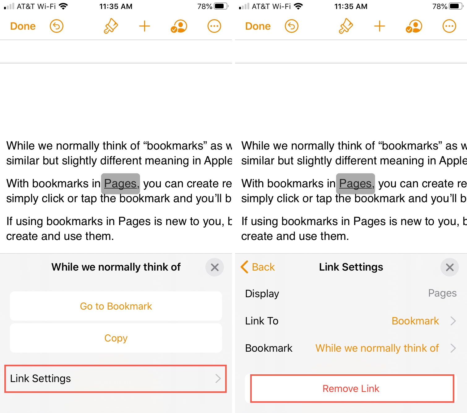 Pages Remove Link To Bookmark iPhone