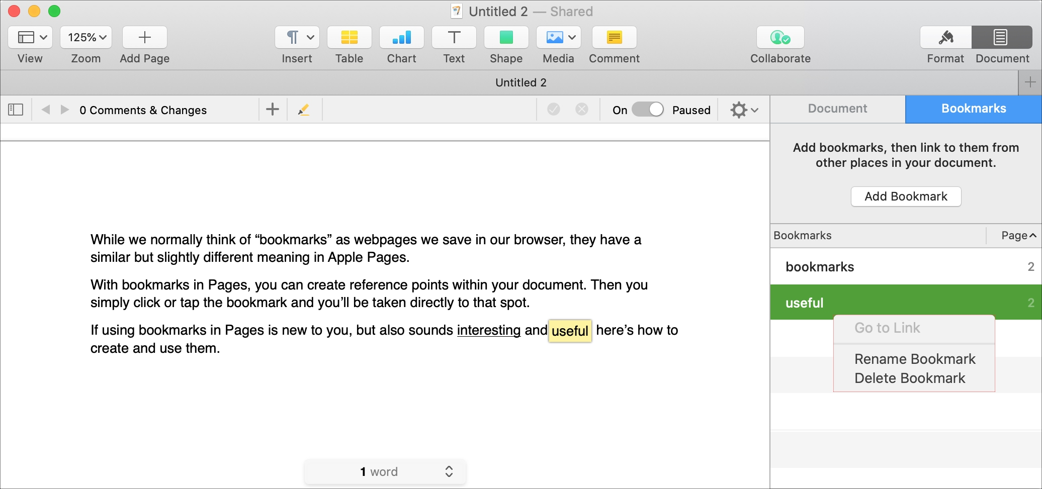 Pages Rename Delete Bookmark on Mac