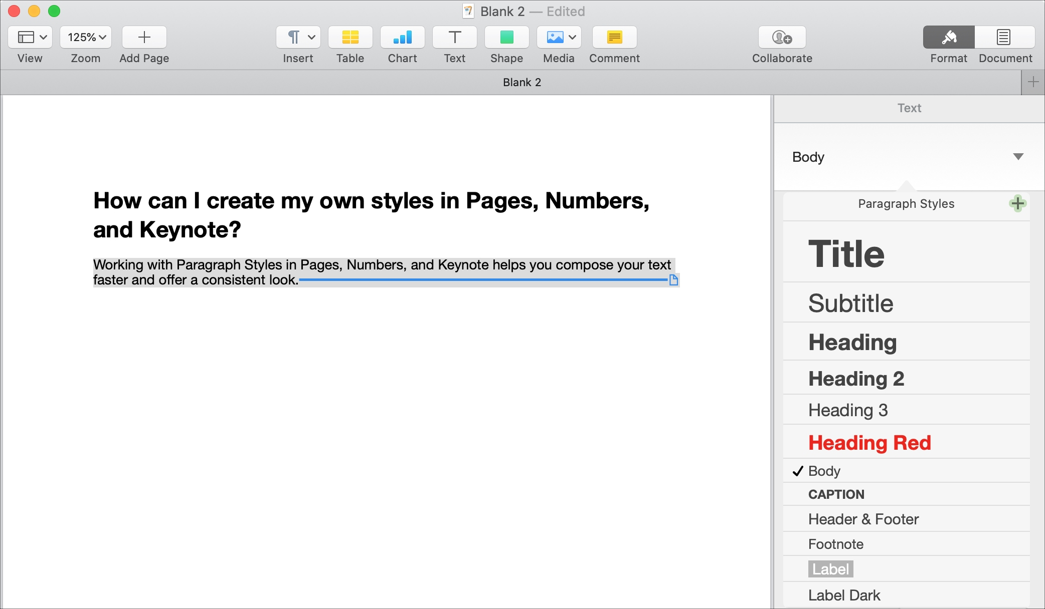 Pick Paragraph Style Pages Mac
