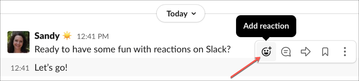 Slack Add Reaction Button