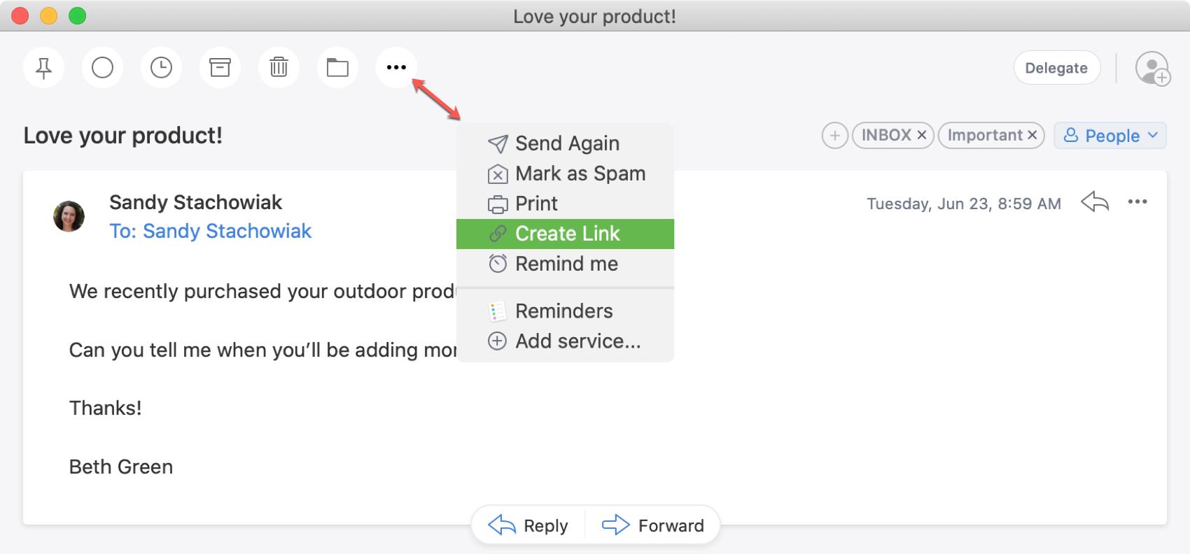 Spark Create Email Link Mac