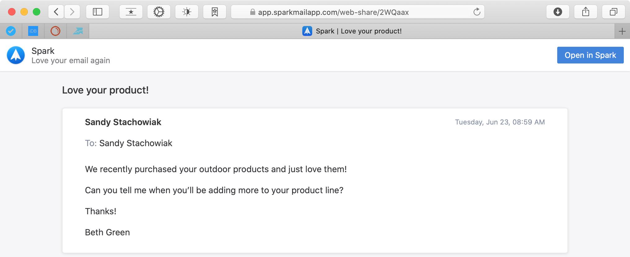 Spark Email Link in Safari Mac