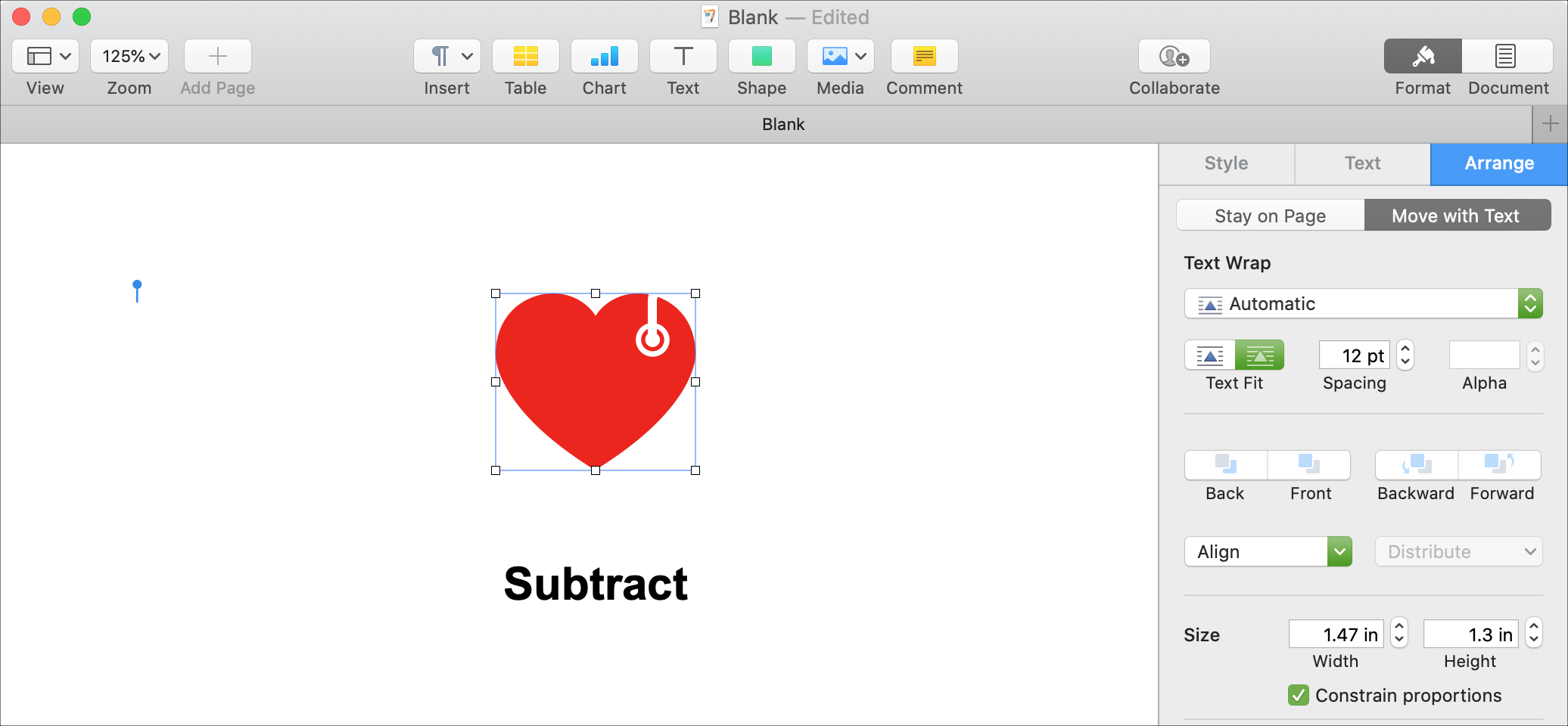 Subtract Shapes Pages Mac