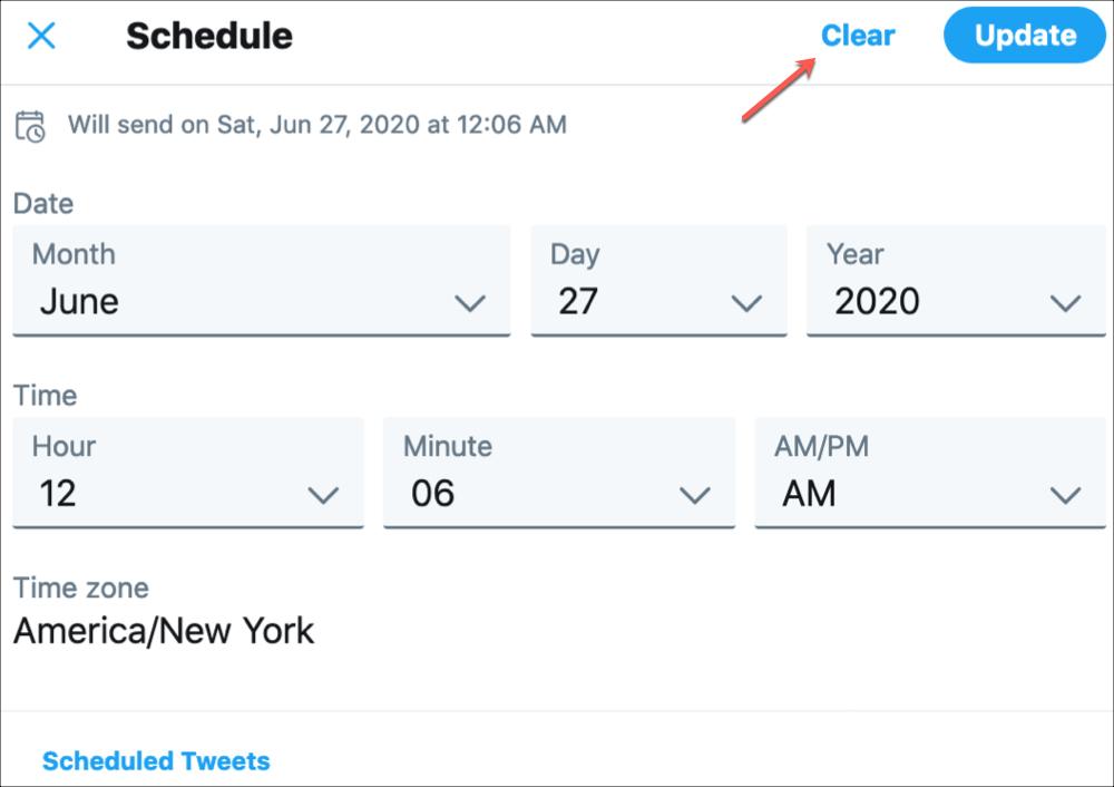 Twitter Clear Scheduled Tweet