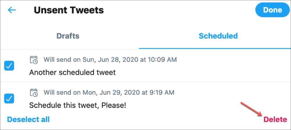 Twitter Delete Scheduled Tweet