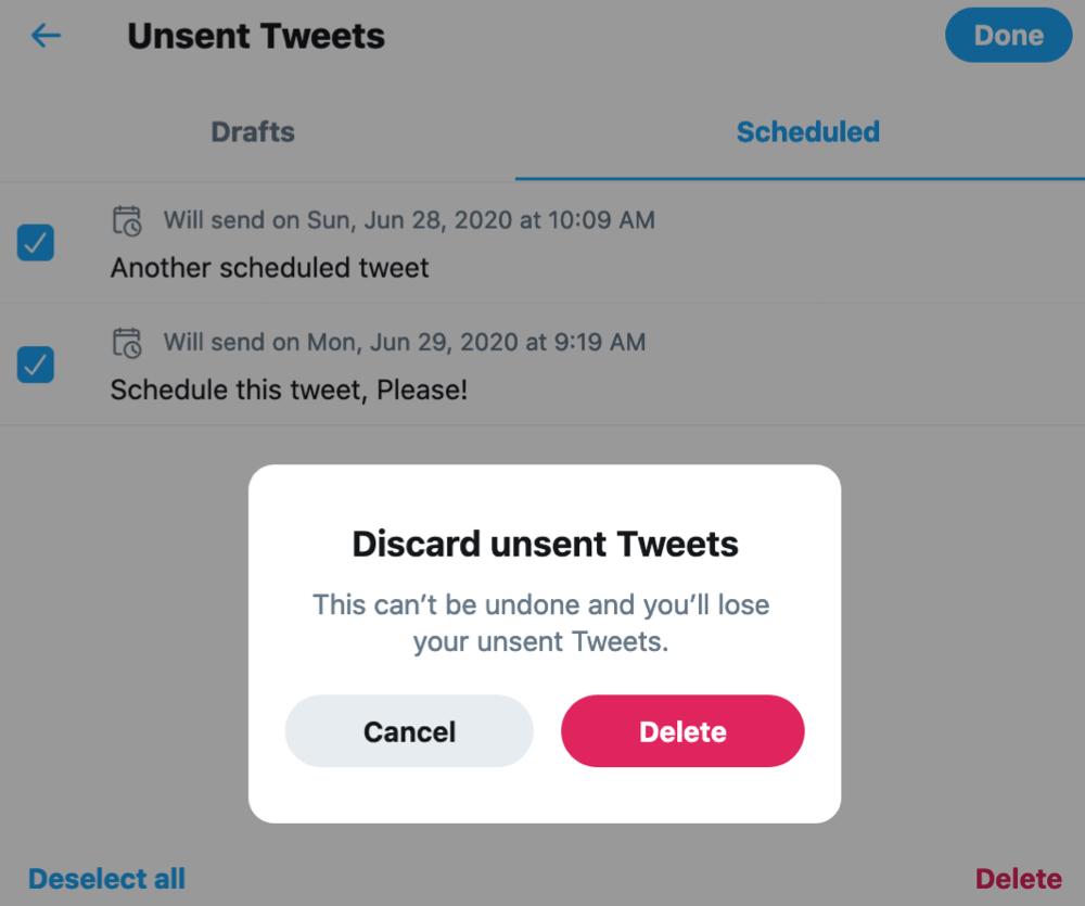 Twitter Discard and Delete Scheduled Tweet