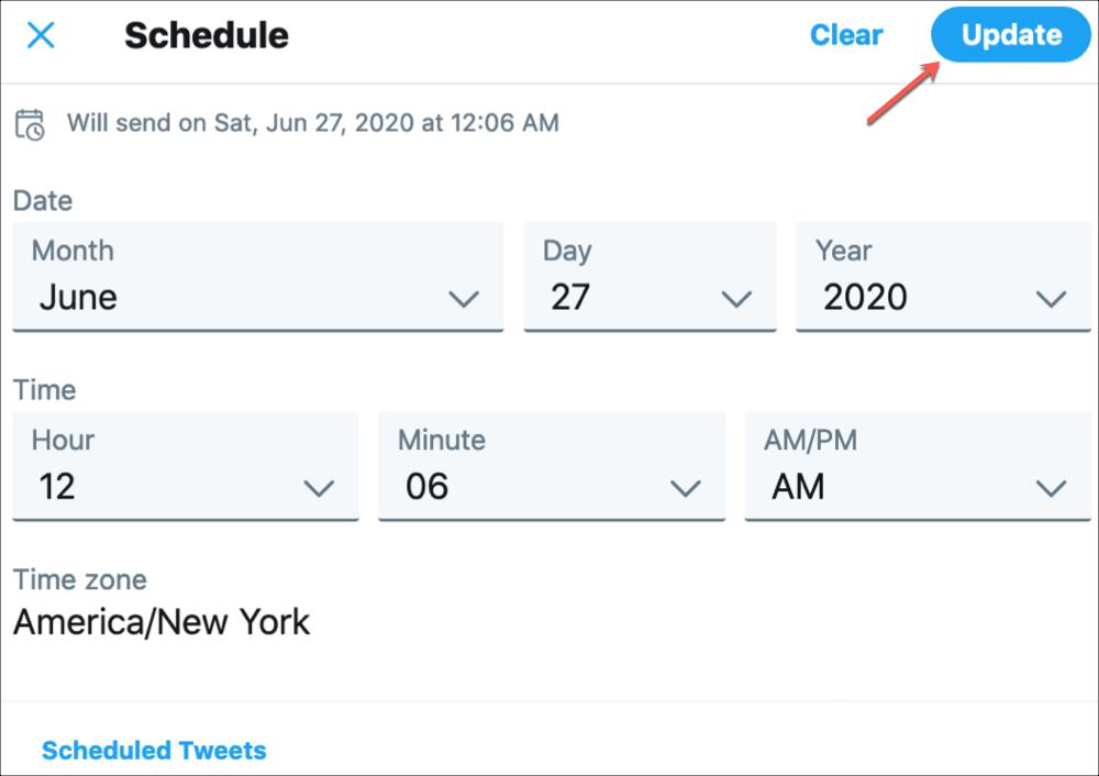Twitter Update Scheduled Tweet