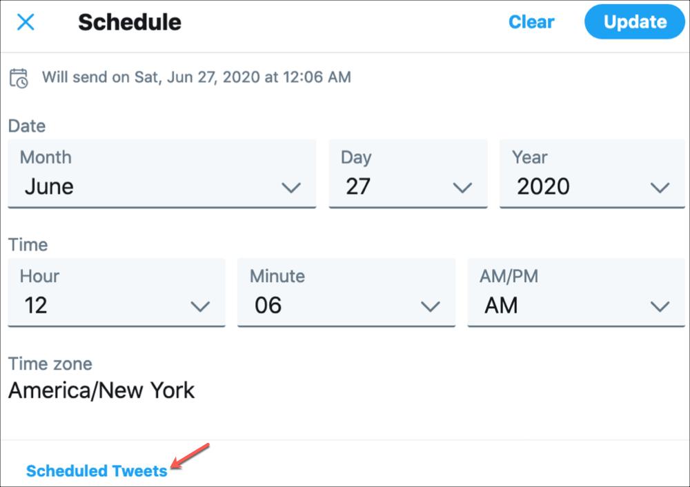 Twitter View Scheduled Tweets