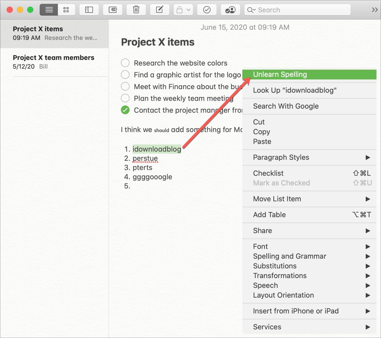 Unlearn Spelling in Notes Mac