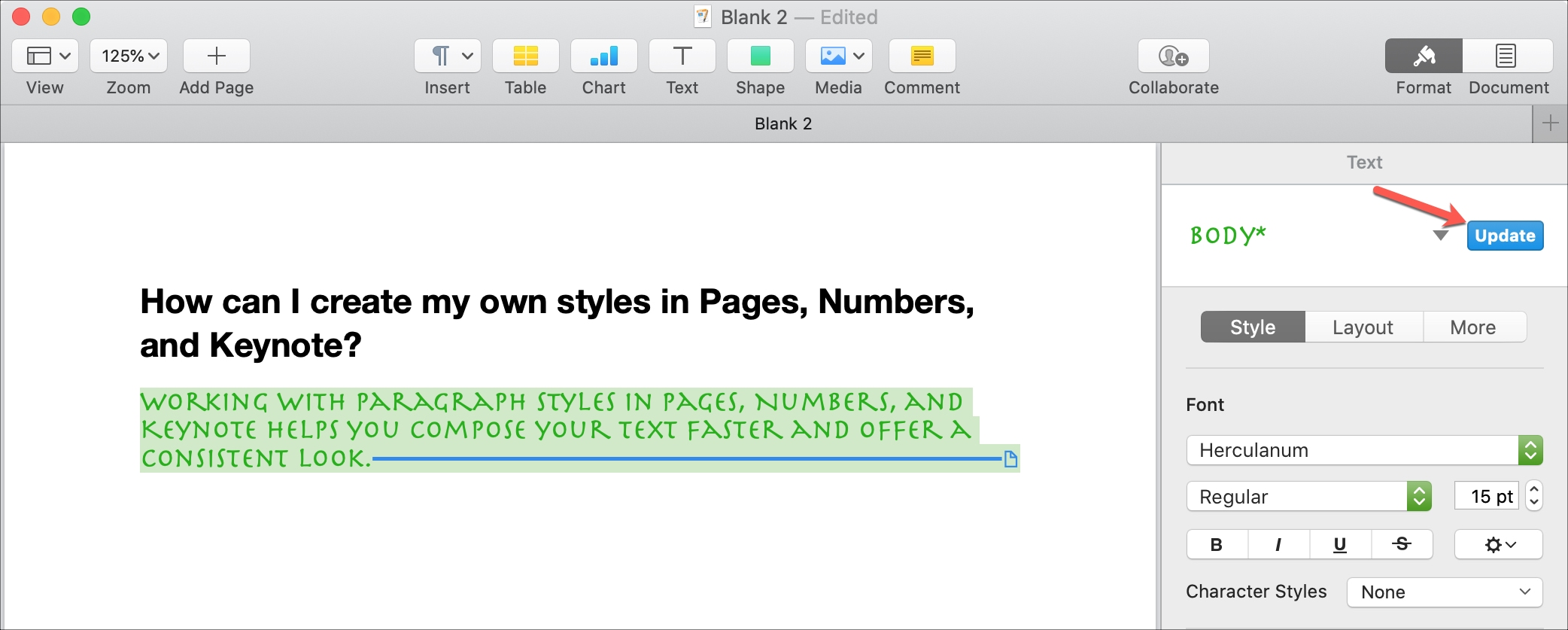 Update Paragraph Style Pages Mac