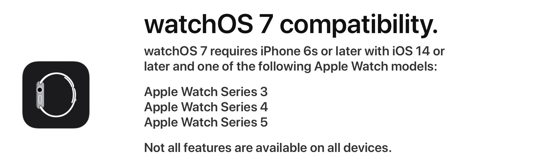 watchOS 7 system requirements Apple Watch device compatibility list