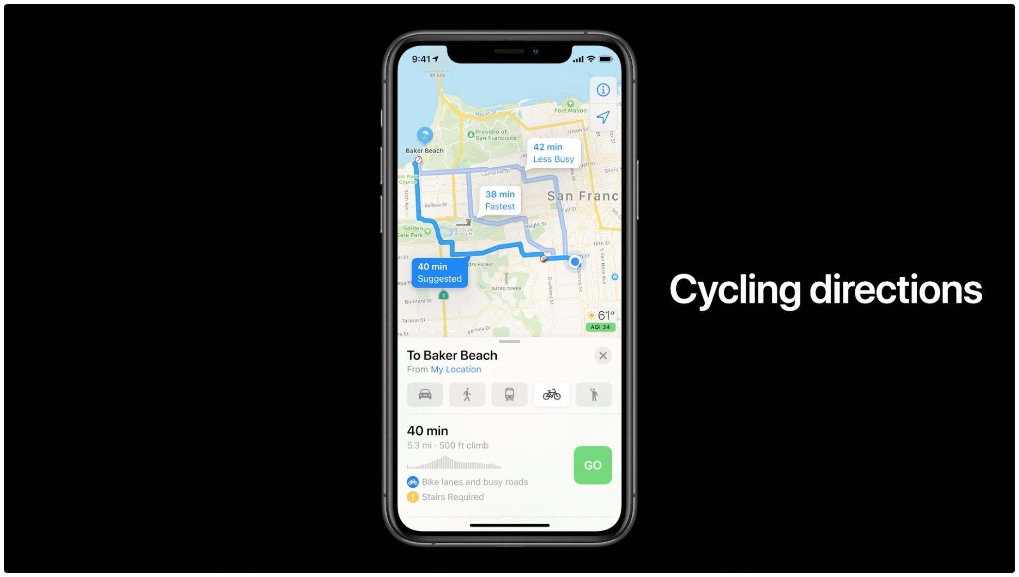 Apple Maps cycling directions - WWDC 2020 introductory slide