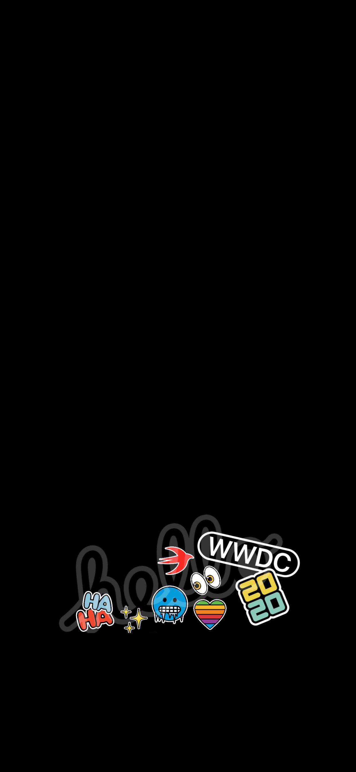 WWDC 2020 iPhone wallpaper AR72014 iDownloadBlog Sticker bottom dark
